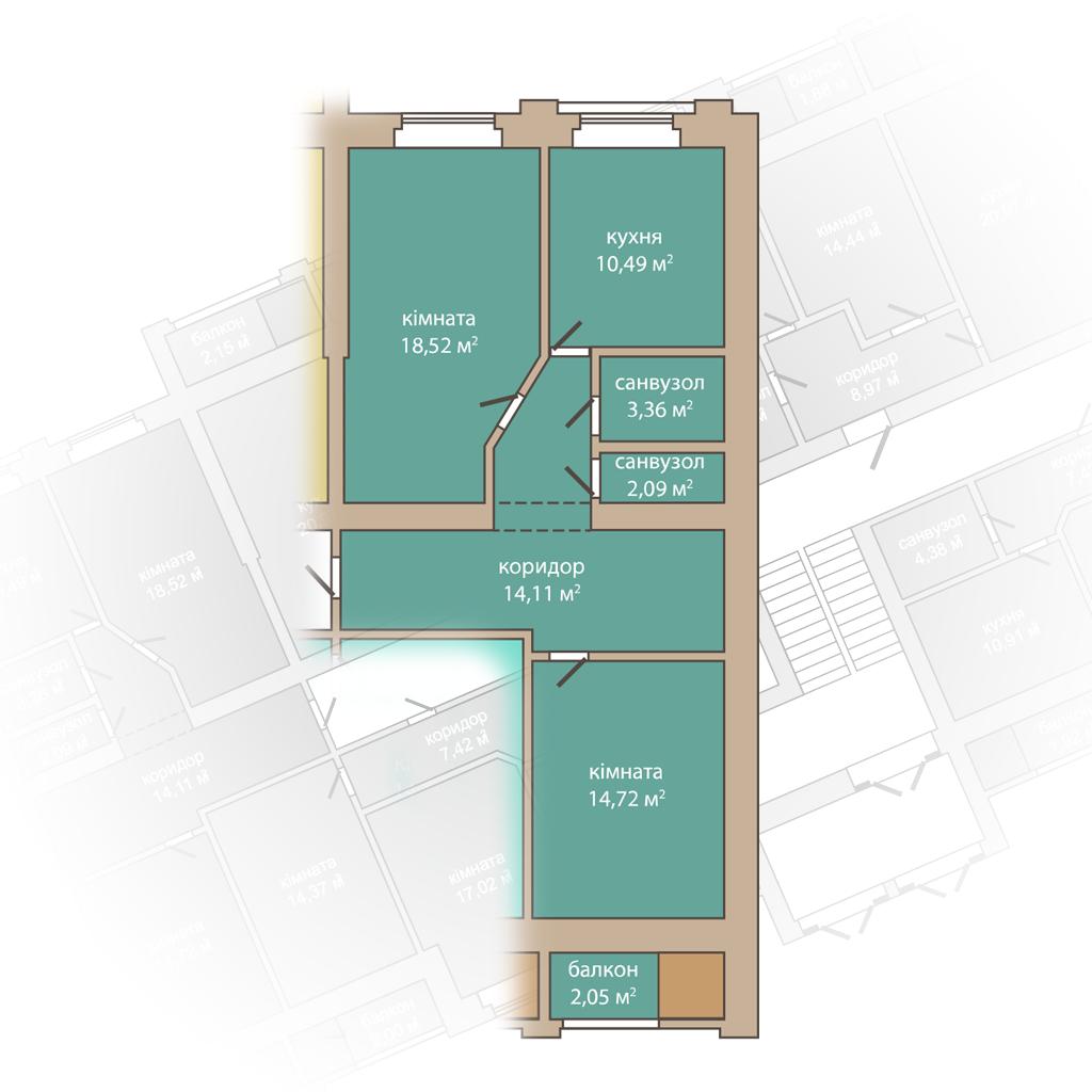 2 кімнатна квартира 65,34 м2.