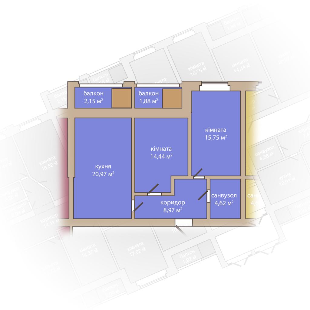 3 кімнатна квартира 68, 78м2