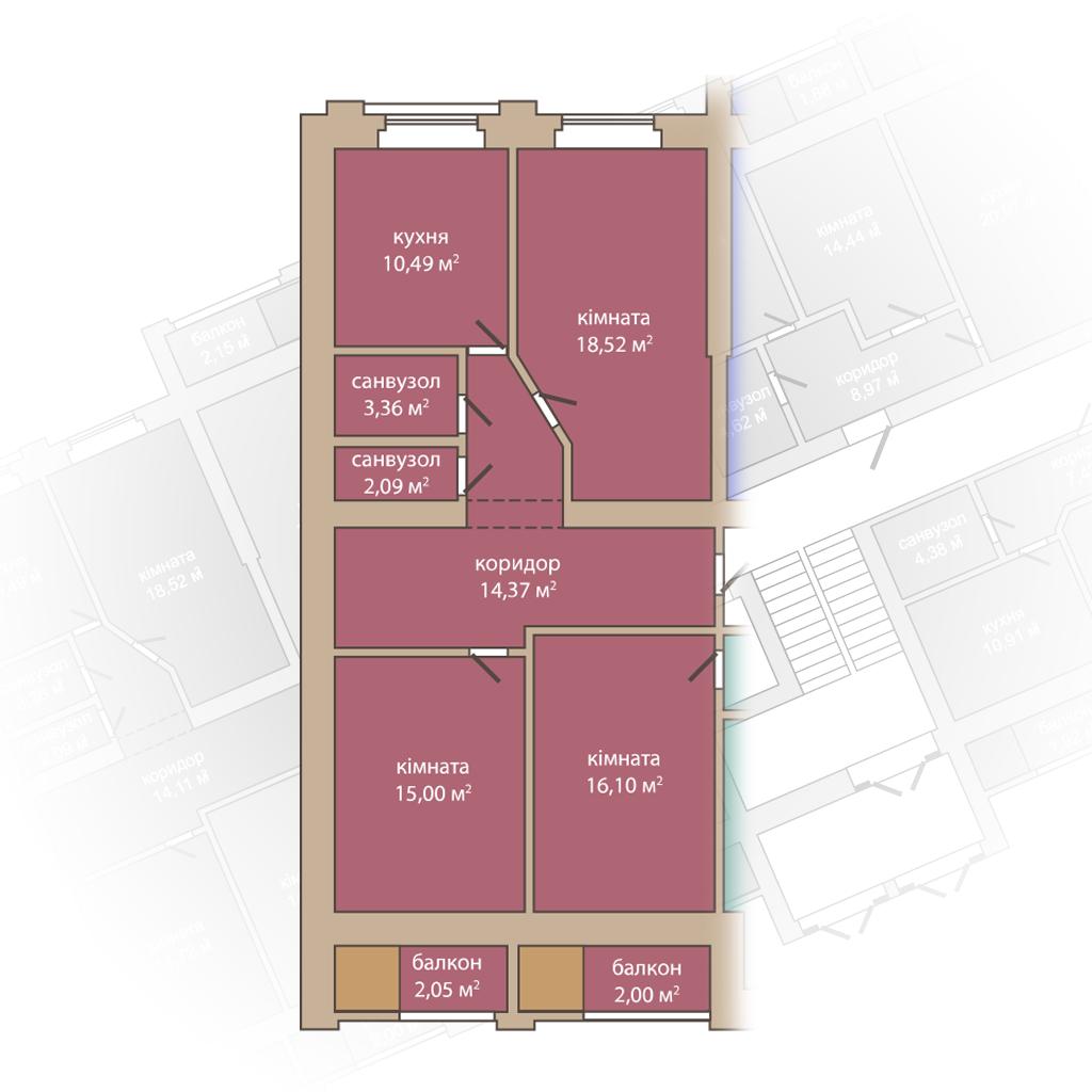 3 кімнатна квартира 83,98м2