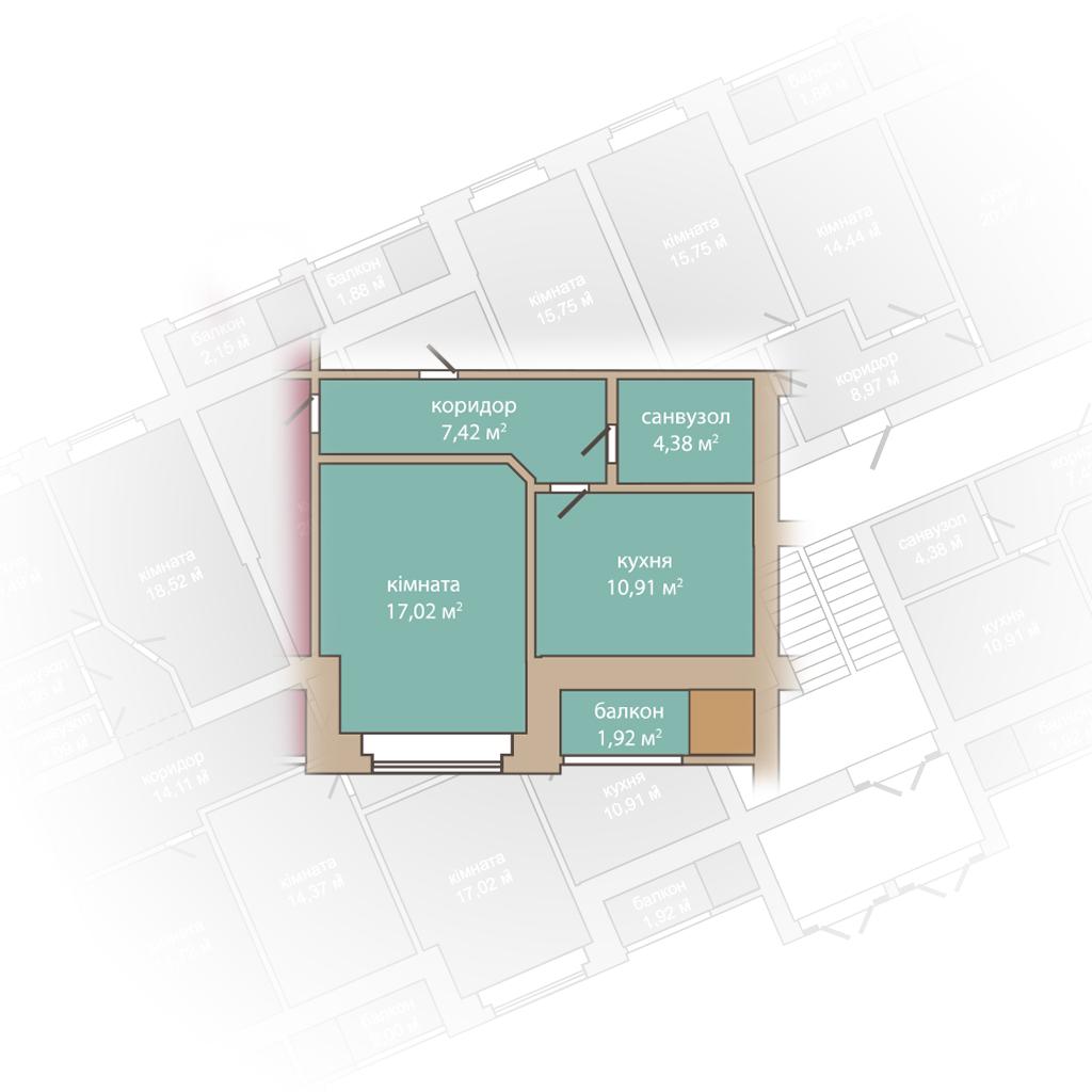 1 кімнатна квартира-39,58м2.